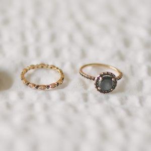 Black Diamond & Rose Gold Wedding Ring Set